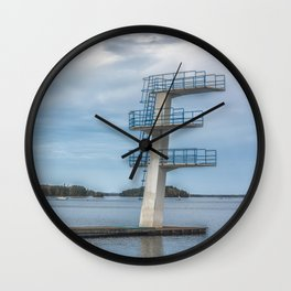 Picture of diving tower at the lake Wall Clock