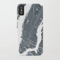 new york map iPhone & iPod Cases featuring New York City map by Studio Tesouro