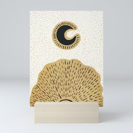 Sun and Moon Relationship // Cosmic Rays of Black with Gold Speckle Stars Cool Minimal Digital Drawn Mini Art Print