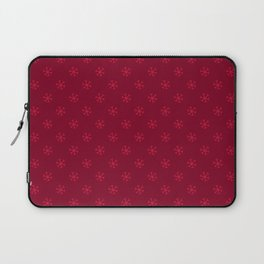 Crimson Red on Burgundy Red Snowflakes Laptop Sleeve