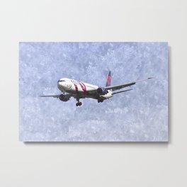 Delta Airlines Boeing 767 Art Metal Print
