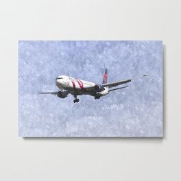 Delta Airlines Boeing 767 Art Metal Print