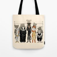 high Tote Bags featuring Unusual Suspects by castlepöp
