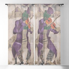 The Green Violinist, France winter scene portrait circa 1924 by Marc Chagall Sheer Curtain