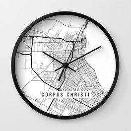 Corpus Christi Map, USA - Black and White Wall Clock