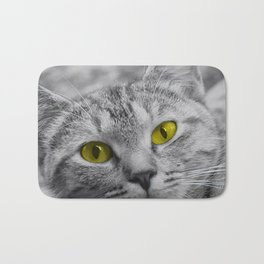 Cat with Piercing Yellow Eyes Bath Mat