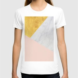 Carrara Marble with Gold and Pantone Pale Dogwood Color T-shirt
