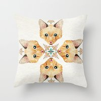 kitten Throw Pillows featuring kitten by Manoou