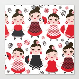 Seamless pattern spanish Woman flamenco dancer. Kawaii cute face with pink cheeks and winking eyes. Canvas Print
