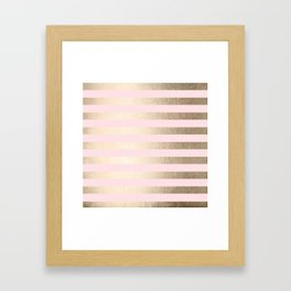 Stripes White Gold Sands on Pink Flamingo Framed Art Print