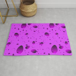 Large purple drops and petals on a light background in nacre. Rug