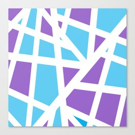 Abstract Interstate  Roadways Aqua Blue & Violet Color Canvas Print