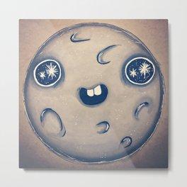 Starry Eyed Moon Metal Print
