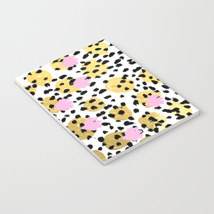 Pink Gold abstract painting foil trendy minimal modern art paint pattern gender neutral non binary  Notebook