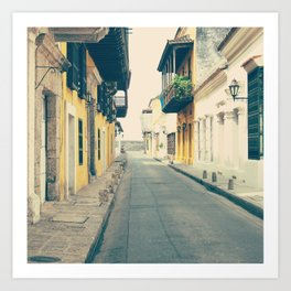 Summer Town (Retro and Vintage Urban, architecture photography) Art Print
