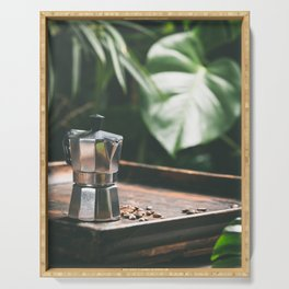 Coffee maker pot and cups on tropical leaves background Serving Tray