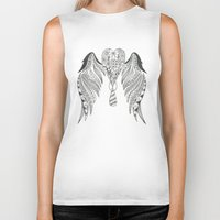 angel wings Biker Tanks featuring Totally Tangled Angel Wings by Totally Tangled Creations