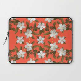 White Angel Flowers in Tangerine Laptop Sleeve
