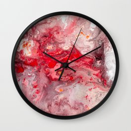 Pink Red Watercolor Abstract Wall Clock