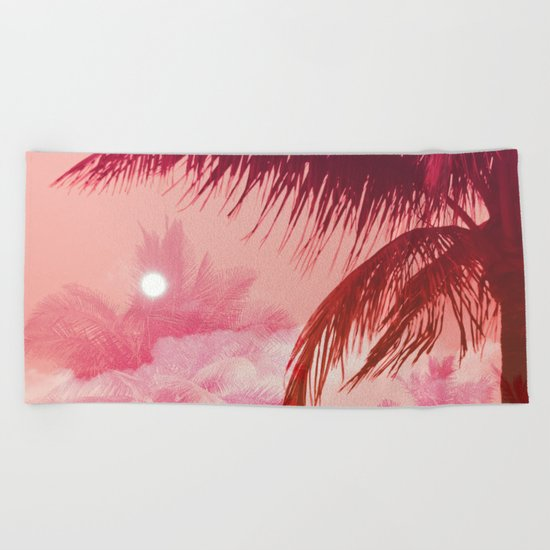 Tropical Pink Sunset Beach Towel