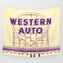 Western Auto Neon Sign In Downtown Kansas City Wall Tapestry