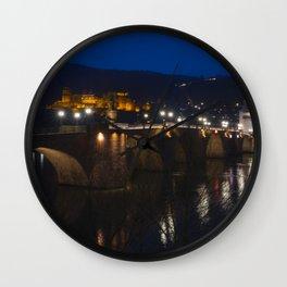 Heidelberg Bridge and Castle by Night Wall Clock