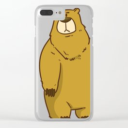 Bear North Pole Gift Brown Panda Funny Cool Clear iPhone Case