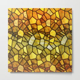 Amber Stained Glass Metal Print