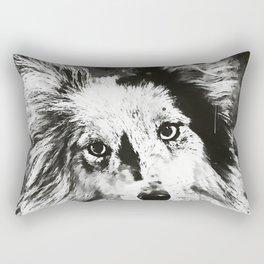 border collie dog 5 portrait wsbw Rectangular Pillow