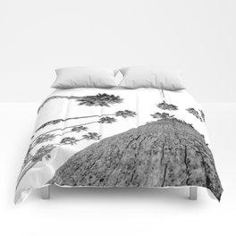 {2 of 2} Hug a Palm Tree // Tropical Summer Black and White Sky Art Print Comforters