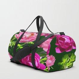 PINK PEONIES GREEN GARDEN VERDANT EXPERIENCE Duffle Bag