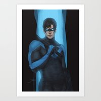 nightwing Art Prints featuring Nightwing by Guilherme Prieto