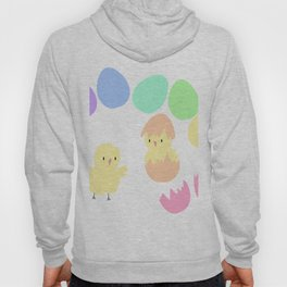 Pastel rainbow Easter eggs and chicken Hoody