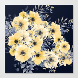 Floral Watercolor Print, Yellow and Navy Blue Canvas Print