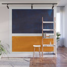 Navy Blue Yellow Ochre Abstract Minimalist Rothko Colorful Mid Century Color Block Pattern Wall Mural