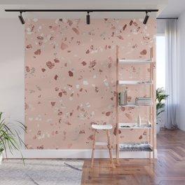 Deep Pink Quartz Gold Terrazzo Wall Mural