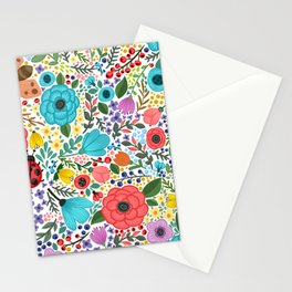 Colorful Vintage Spring Flowers Stationery Cards
