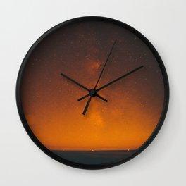 Vintage Sepia Sunset Night Sky Stars Landscape At Night Wall Clock