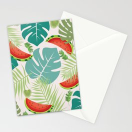 Tropical red green watermelon fruit floral Stationery Cards