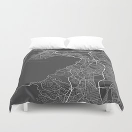Cape Town Map, South Africa - Gray Duvet Cover