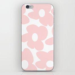 Large Baby Pink Retro Flowers on White Background #decor #society6 #buyart iPhone Skin