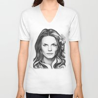 house md V-neck T-shirts featuring Dr. Cameron-House MD-Jennifer Morrison-Portrait by Olechka