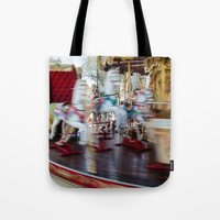 carousel Tote Bags featuring Carousel by Sébastien BOUVIER