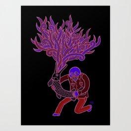 Calaca con Pejelagarto Art Print