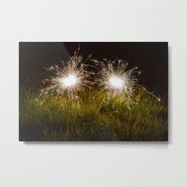 Sparklers in the grass Metal Print