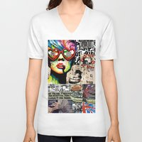 punk rock V-neck T-shirts featuring Punk Rock poster by Mira C