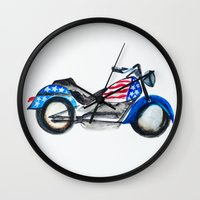 motorcycle Wall Clocks featuring Motorcycle by Aniko Levai