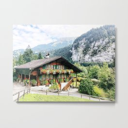 Lauterbrunnen Swiss chalet Metal Print
