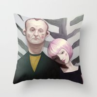 lost in translation Throw Pillows featuring Lost in translation  by Maripili