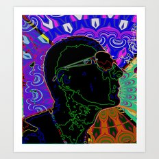 profile face abstract Art Print